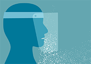 Illustration of a profile view of a person wearing a face shield with many droplets coming from the mouth and nose area and some emerging from below the shield