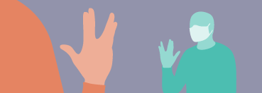 Illustration of a person wearing a protective mask and greeting a partially visible person in the foreground using a Vulcan salute