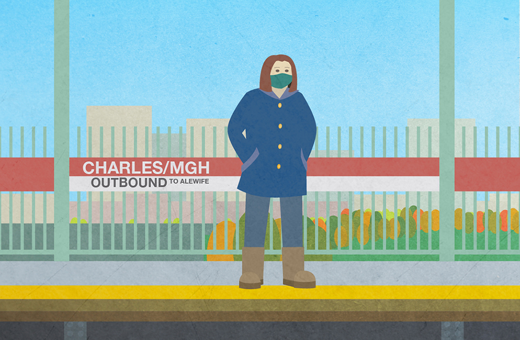 Illustration of person in winter clothes waiting for a the train at the Charles River/MGH station on the MBTA subway in Cambridge, MA