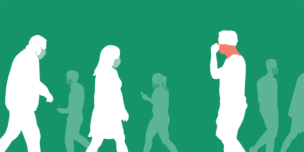 Illustration of several people walking and wearing typical non-clinical PPE masks and one wearing a neck gaiter
