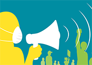 Illustration of a person wearing a PPE mask and speaking into a bullhorn in front of a crowd at a demonstration