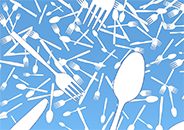 illustration of an assortment on single-use plastic utensils distributed across the frame in a disorderly manner