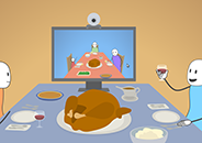Illustration of two families having a virtual Thanksgiving with one couple sitting around a dinner table watching the other family on a monitor