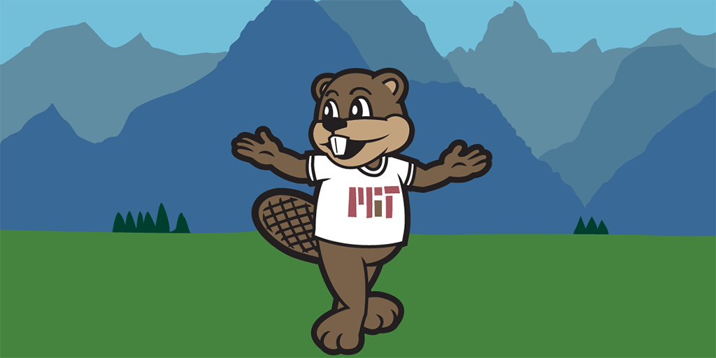 Illustration of MIT mascot Tim the Beaver standing with outstretched arms in an Alpine field