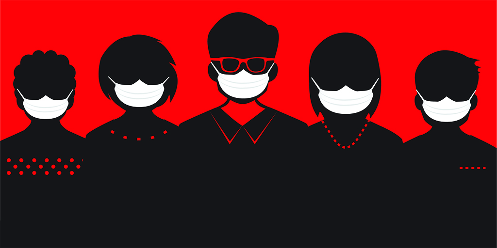 Illustration of five people of various heights standing shoulder-to-shoulder and wearing PPE masks