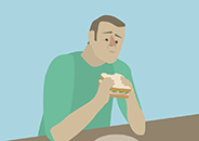 Illustration of a person with a disappointed facial expression sitting at a table as they smell a sandwich held in their hands