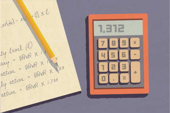 Illustration of a calculator and a math equation written on a notepad