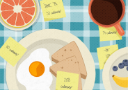 Illustration of food on plates with post-its indicating calorie counts attached to each plate
