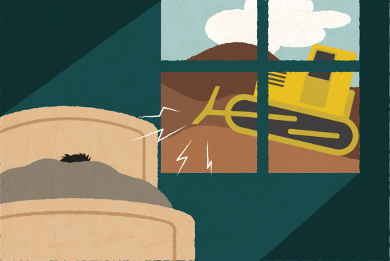 Illustration of a person in a bed next to a window, with a bulldozer visible outside the window.