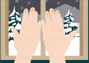 Illustration of two hands with cracked skin in front of a window showing a snowy winter landscape