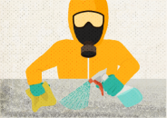 Illustration of a person in a hazmat suit with a spray bottle and sponge cleaning a surface