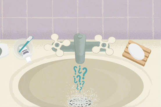 Illustration of a bathroom sink with water and question marks coming out of the tap