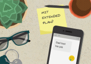 "an illustration of items on a desk, including a post-it reading ""MIT Extended Plan?"" and a mobile phone displaying the text ""Dad lost his job"""