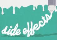 """Illustration of the words """"side effects"""" written with lotion that is being squeezed out of a tube"""
