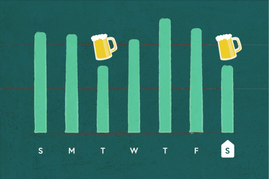 Illustration of a bar graph with beer mugs icons at the top of some of the bars
