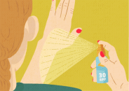 illustration of person spraying sunscreen on her hand