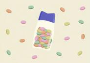 Illustration of a bottle of antacid tablets