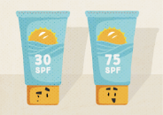 Illustration of two containers of sunscreen, one with a label reading 'SPF 30' and one with a label reading 'SPF 75'