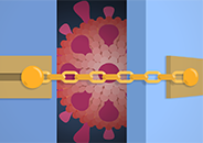 Illustration of a COVID-19 molecule seen through a partially open door that is secured with a chain door guard