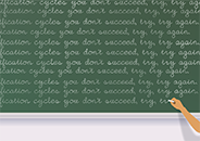 Partial view of a hand writing repeating lines of text on a chalkboard