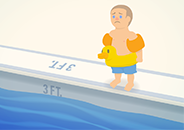 Illustration of a child with a worried expression standing at the edge of a swimming pool and wearing several flotation devices