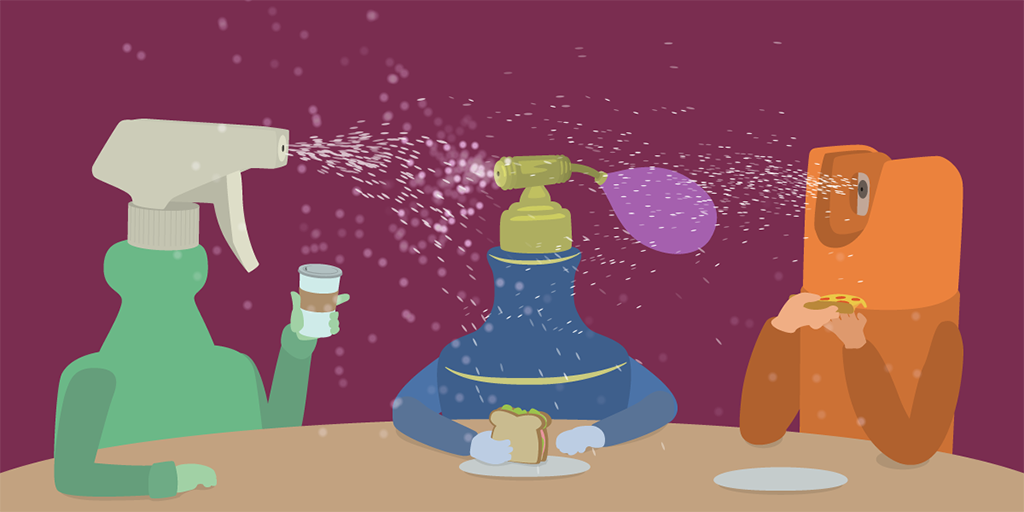 Illustration of three characters at a table, each with food or a beverage. Each one's head is a type of liquid spray device spewing droplets into the air: a spray bottle, a perfume atomizer, and an aerosol can