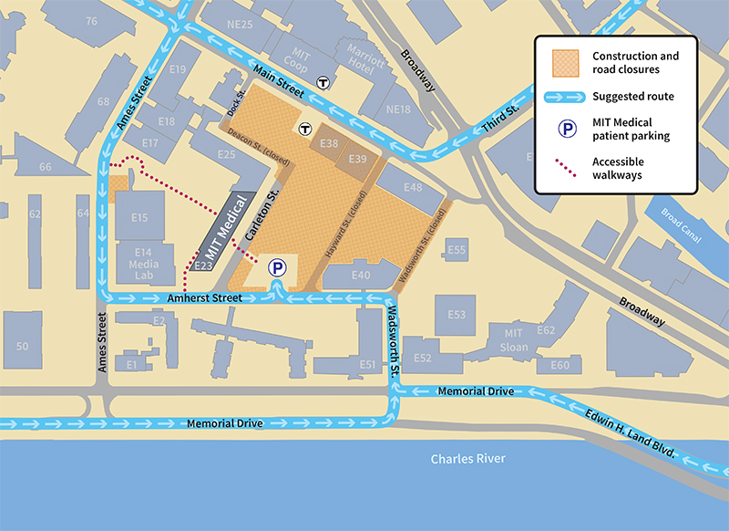 Map showing suggested access route to MIT Medical parking