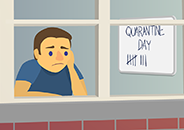 Illustration of a sad person looking out a window with a whiteboard in the background with several hatch marks on it and the text, with text, 'Quarantine Day'