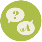 illustration two speech bubbles, one containing a question mark and one containing the letter A