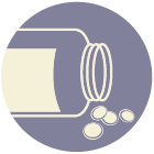 illustration of an open pill bottle