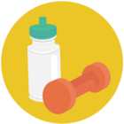 Illustration of a water bottle and a hand weight