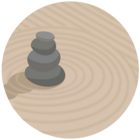 illustration of stones and sand from a Zen garden
