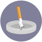 Illustration of an extinguished cigarette in an ashtray