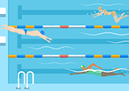 Illustration of 3 people swimming laps in a pool