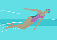 Illustration of an overhead view of a person swimming in a blue-green water